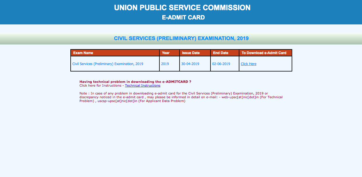 DOWNLOAD : UPSC Prelims 2019 Admit Card Out + Read Important