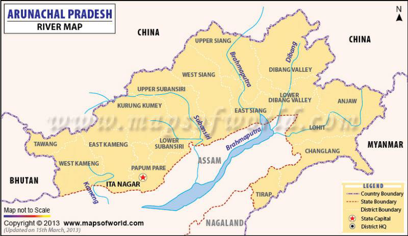 Arunachal pradesh river map