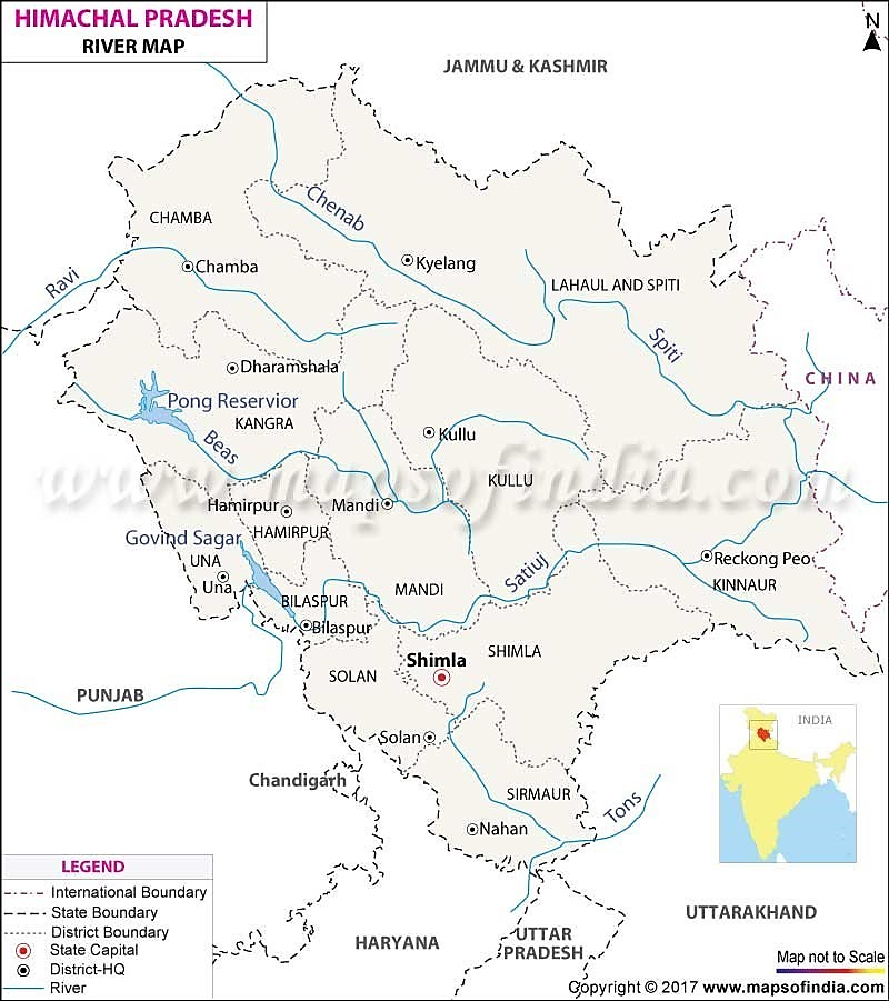 HIMACHAL PRADESH RIVER MAP
