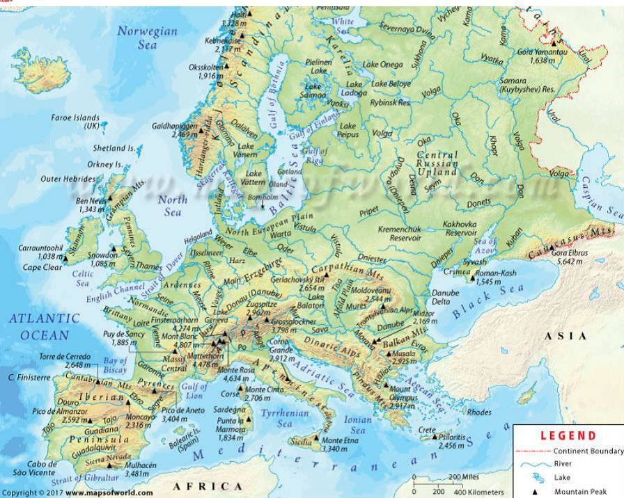 Sea of Europe continent